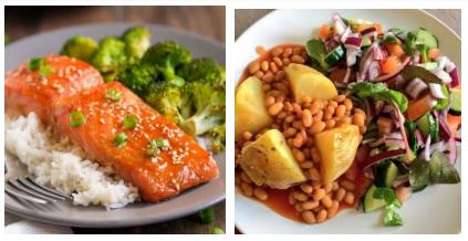 Orez brun cu somon și brocoli; cartof copt în coajă cu salată și ulei de măsline - nutriție pentru alergători la prănz sau la cină